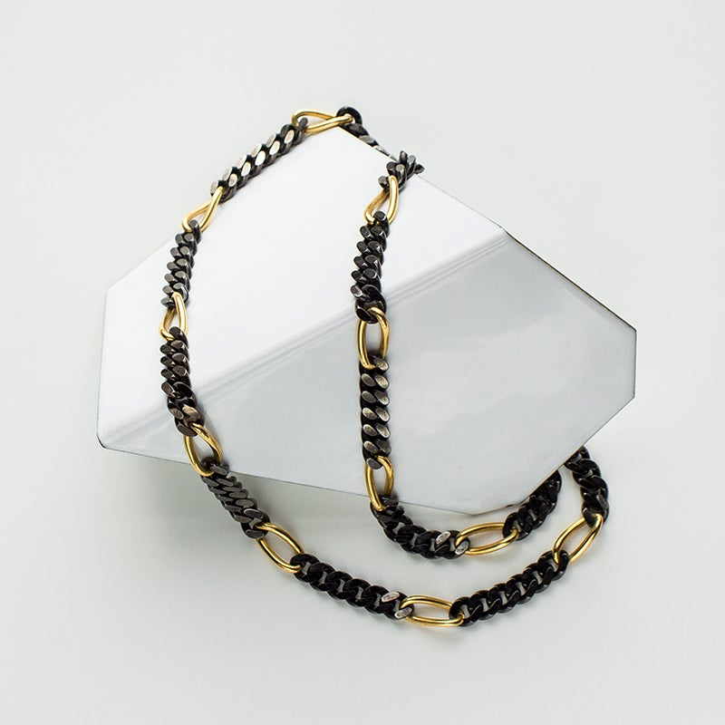 Image of Antique Monet Mixed Metal Chain Necklace