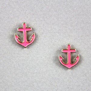 Image of Anchor Stud Earrings, SW173 Pink