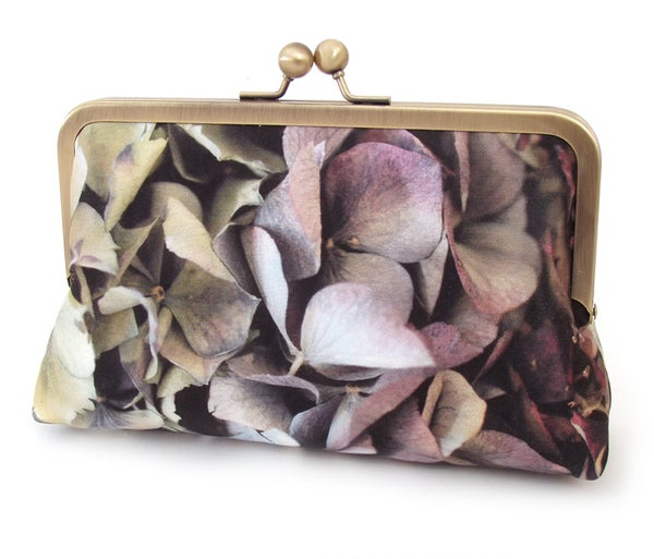 Clutch bag, silk purse, flower petals, hydrangea petals - Red Ruby Rose