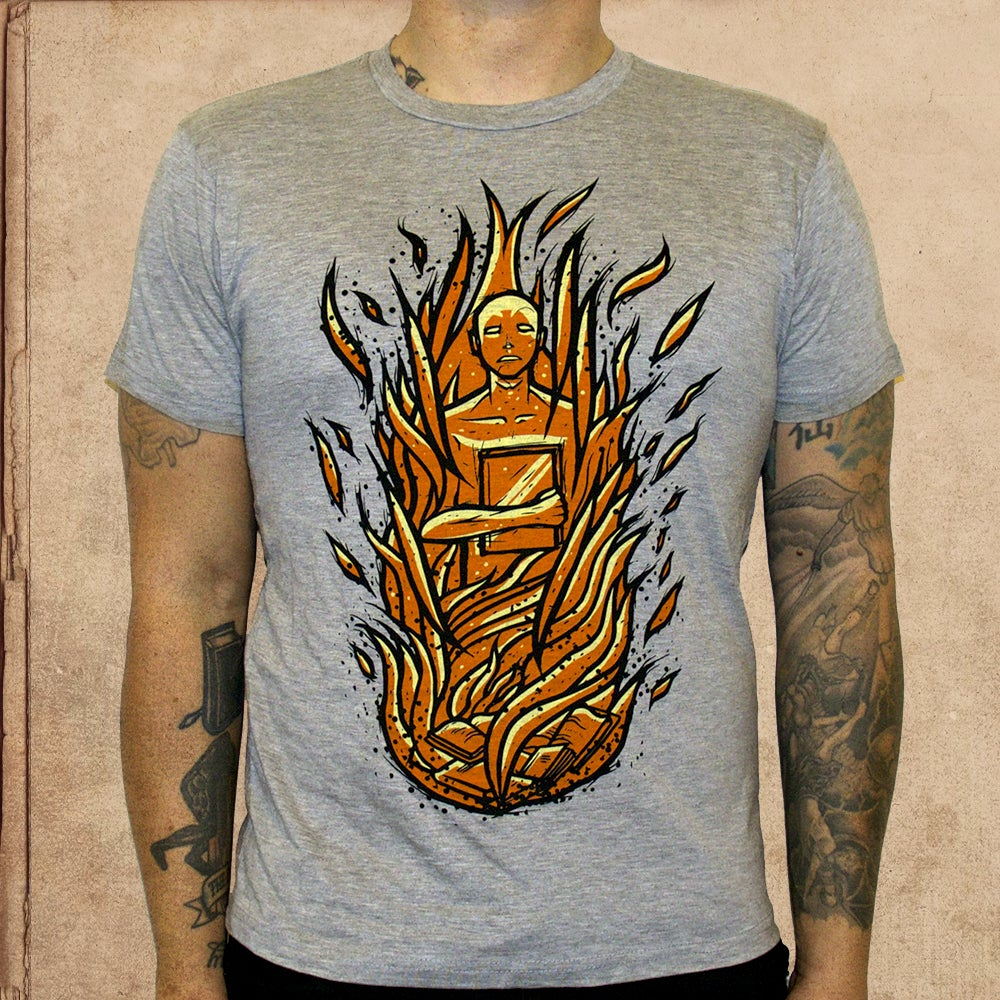 Image of Fahrenheit 451 -heather grey - discharge ink - limited to 16