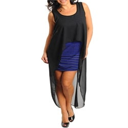 Image of Blue and Black high low plus size dress