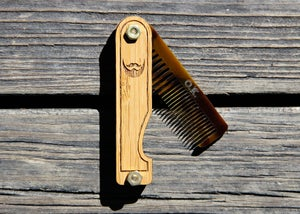 Image of Folding Beard Comb - Personalized and Handmade from Bamboo and Tigerlily Marble Acrylic