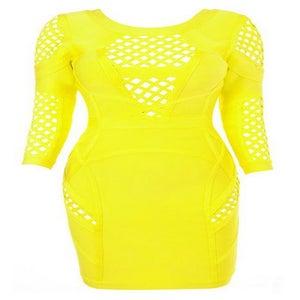 "Image of ""Meshita"" Yellow Peek A Boo Bandage Bodycon Pencil Dress"