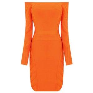 Image of Orange Off Shoulder Bandage Bodycon Pencil Midi Dress