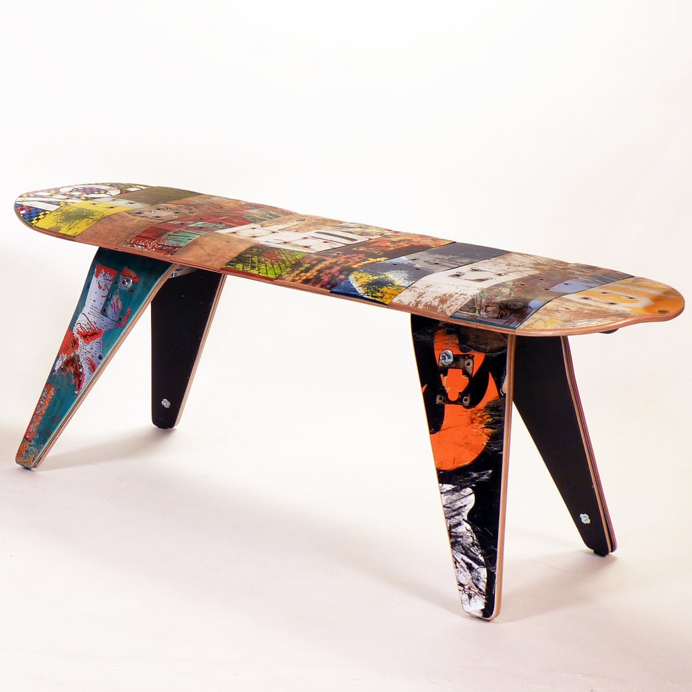 "Image of 48"" Two Seater - Recycled Skateboard Bench"