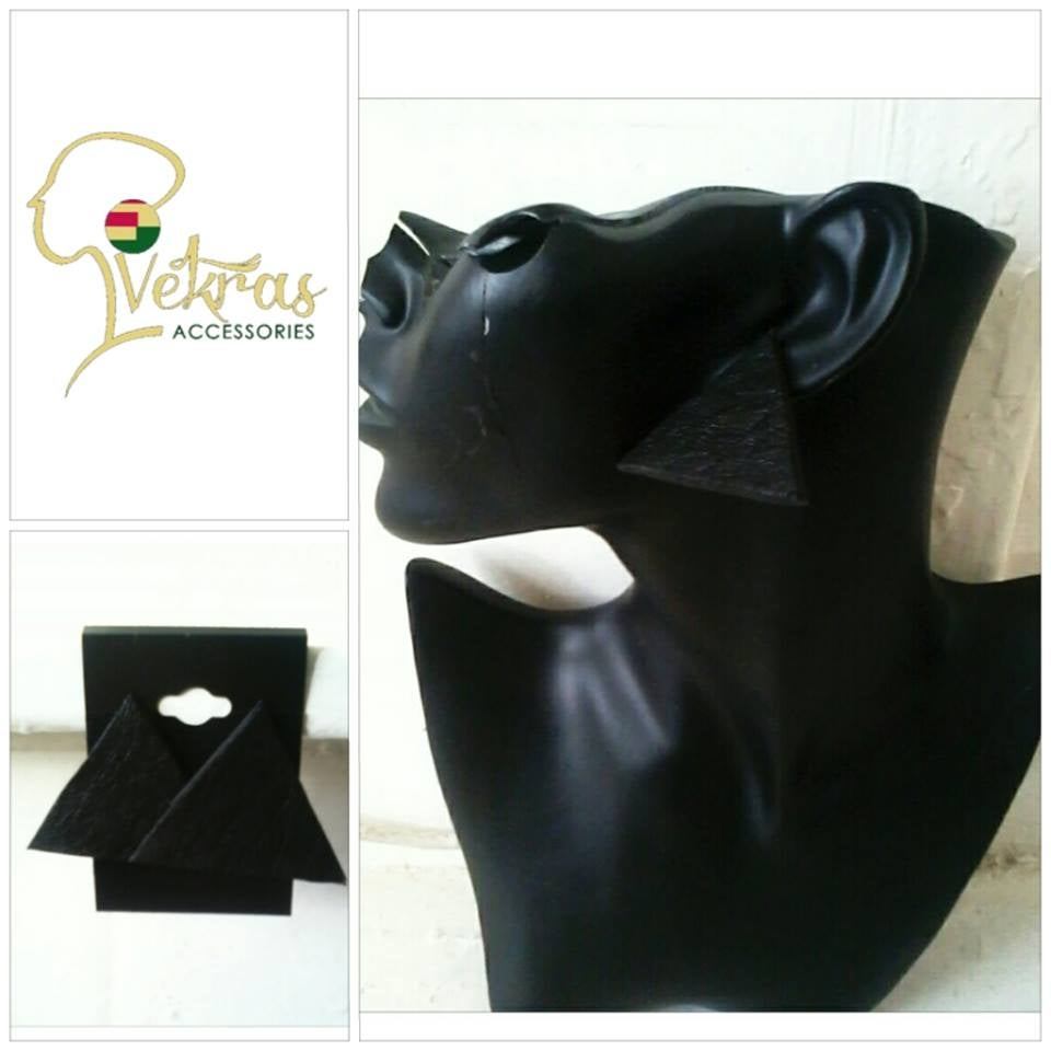 Image of Vekras Leather Triangle Earrings