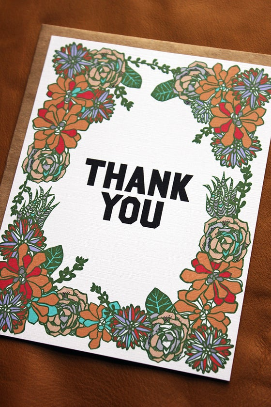 Image of Succulent Thank You Flat Notes-set of 10