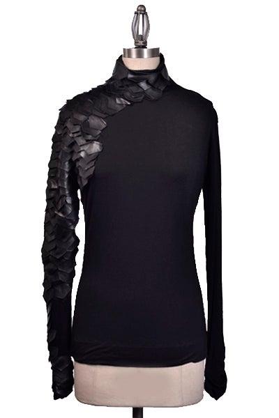 Celebrity Black Asymmetrical Leather Scale Sleeve