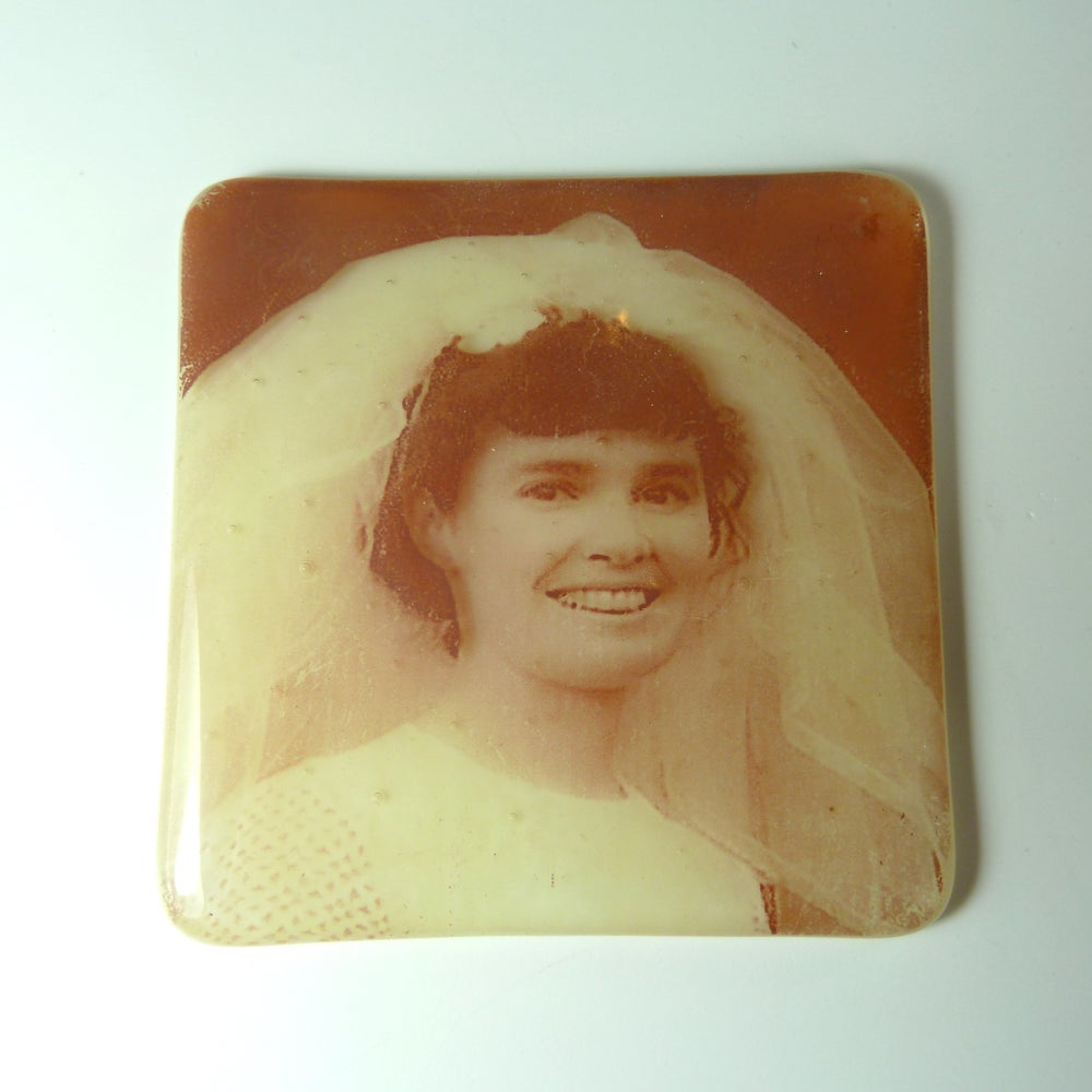 Image of Photos fused on glass 10cm x 10cm