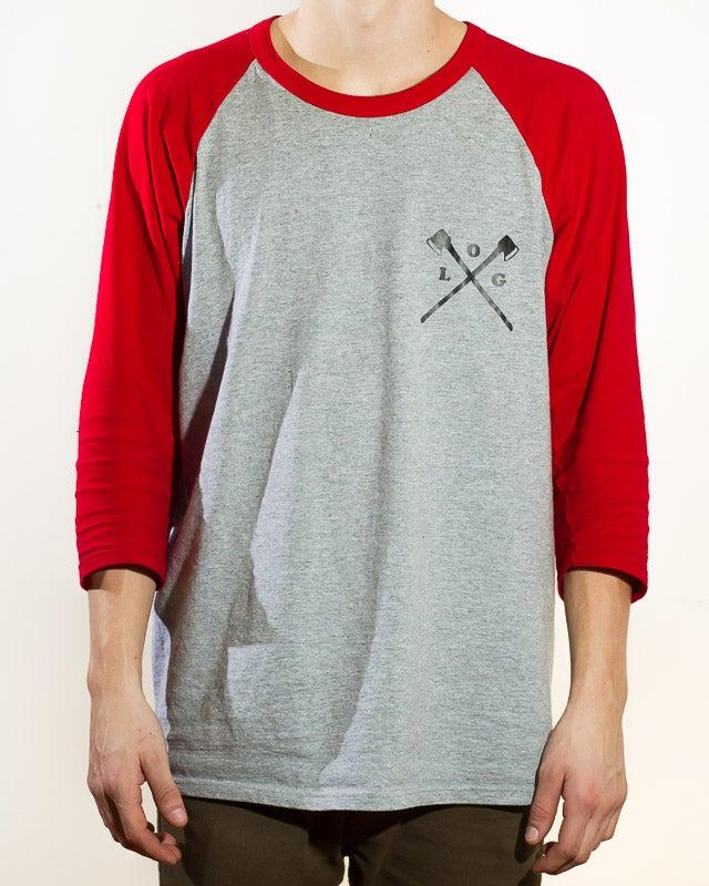 Image of axe crossed 3/4 sleeve