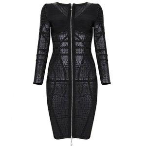 "Image of ""Shronda"" Black Leather Front Zipper Bandage Bodycon Pencil Dress"