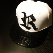Image of Initial R White and Black Raw Caviar Snapback