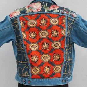 Image of HILL&VELEZ X LeROY JENKINS DENIM JACKETS WEST AFRICAN FLORAL W/ HORSES