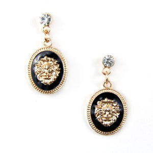 Image of Lion Head Crystal Earrings, SW227