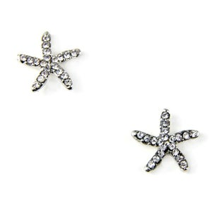 Image of Crystal Starfish Stud Earrings, SW244 Gold or Silver