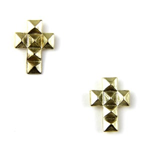 Image of Pyramid Stud Cross Earrings, SW249