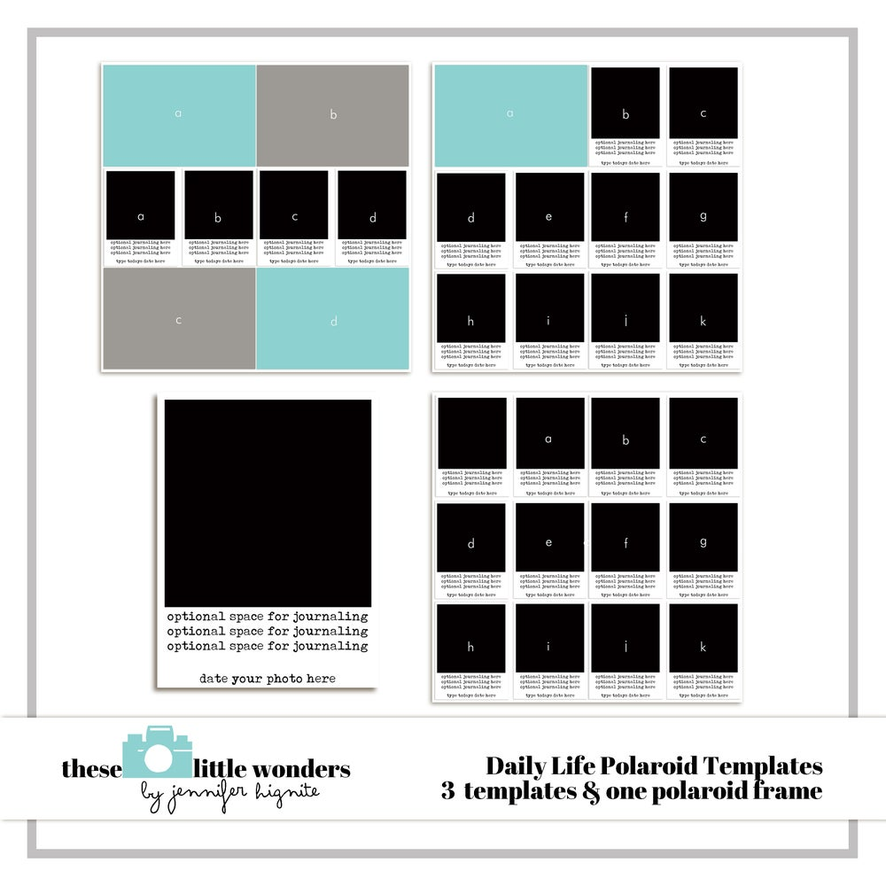 Daily life polaroid templates jennifer hignite designs for Big cartel store templates
