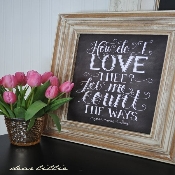 Image of How Do I Love Thee 11x14 Chalkboard Print