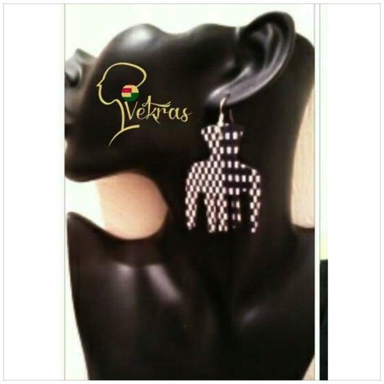 Image of Vekras Black&White Afro Comb Earrings