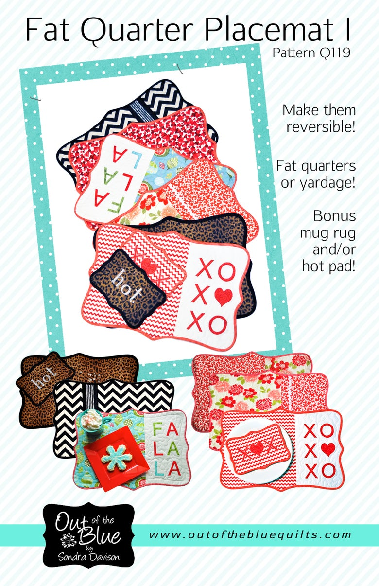 Image of Fat Quarter Placemat I - Pattern Q119 Paper pattern