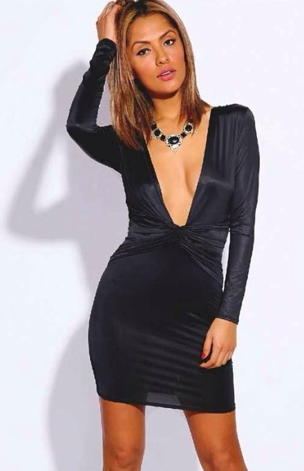 Image of Black deep v plunge mini dress