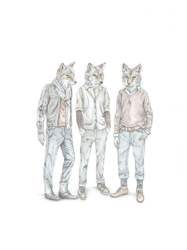 Image of Fashion-forward Coyotes: original art