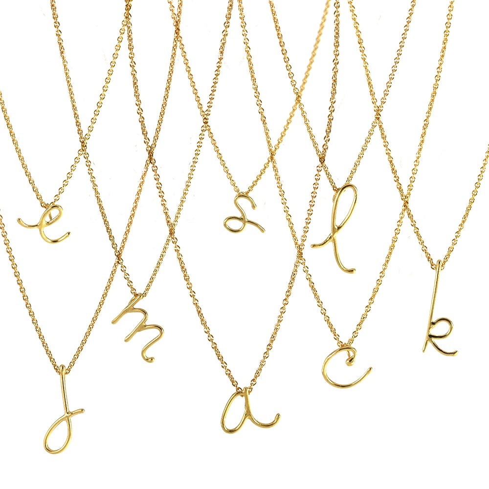 Image of 18k vermeil handwritten initial necklace