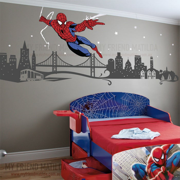 spiderman boys wall decal themed room spider man cartoon car child room decoration wall stickers for kids