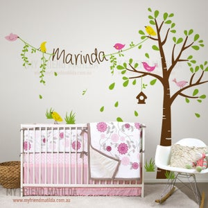 Image of NEW!! Tree With Childs Name Wall Decal Sticker Birds