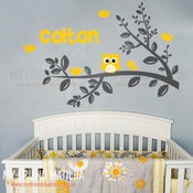 Image of Cute Owl on Branch with Custom Name Wall Decal