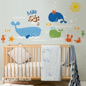 Image of Having a Whale of A Time Whale Wall Decal Sticker M013