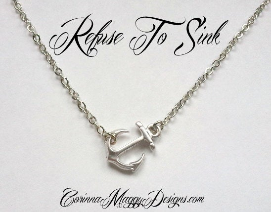 "Image of ""Refuse To Sink"" Sideways Anchor Necklace"