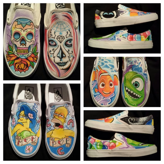 Image of Day of the Dead Tattoo slip on Vans