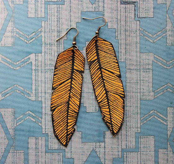 Image of Screen Printed Leather Earrings-Black and Tan Feather