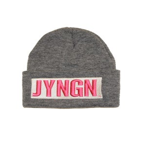 Image of Grey/White/Pink JYNGN Beanie