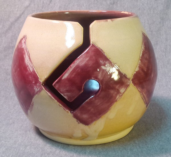 Image of Argyle Yarn Bowl: Red and Yellow