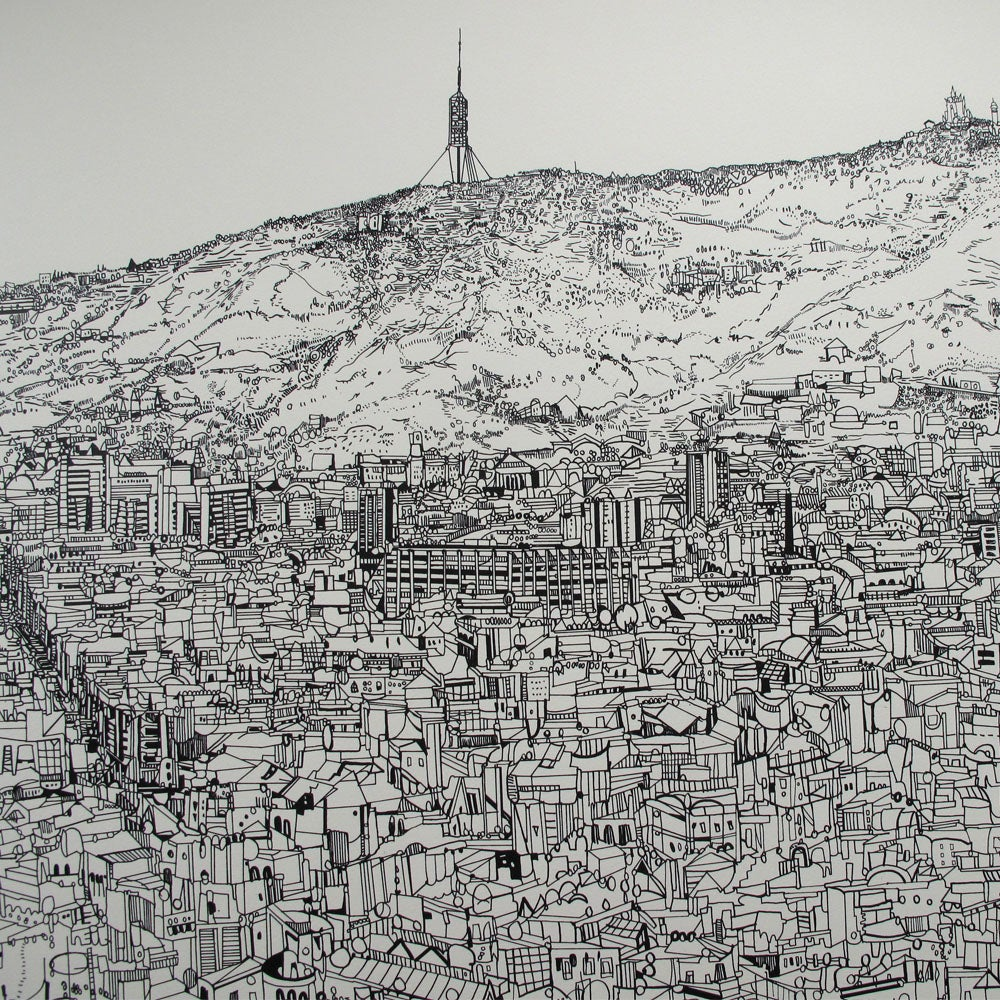 Image of Barcelona view screen print