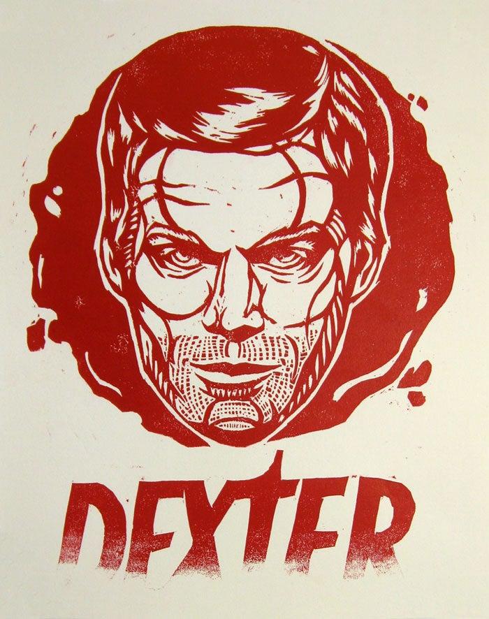 Image of Dexter Tribute Woodblock