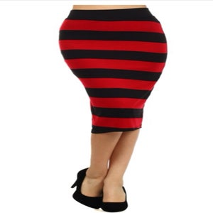Image of Black and red striped high waist skirt