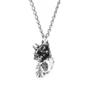 Image of 3D Human Heart Necklace Silvertone