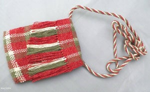 Image of SALE! Silk & Leather, handmade woven bag