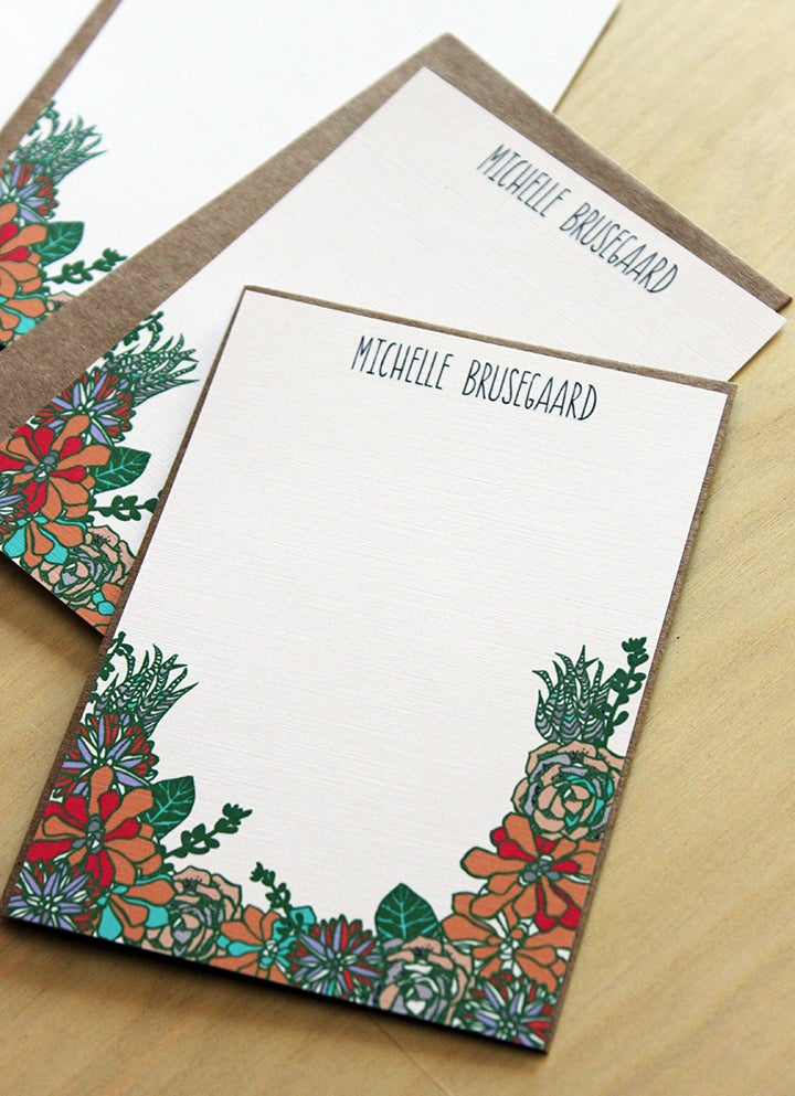 Image of Set of 10 personalized flat notes- Succulents