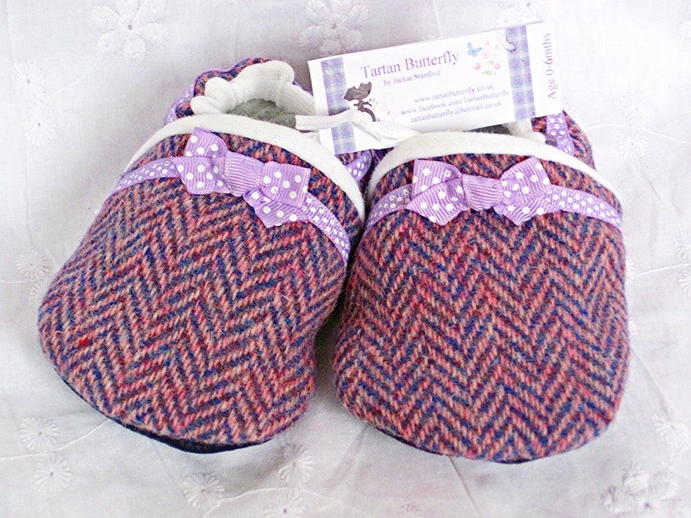 Image of Harris Tweed Baby Shoes - Pink Lilac Herringbone