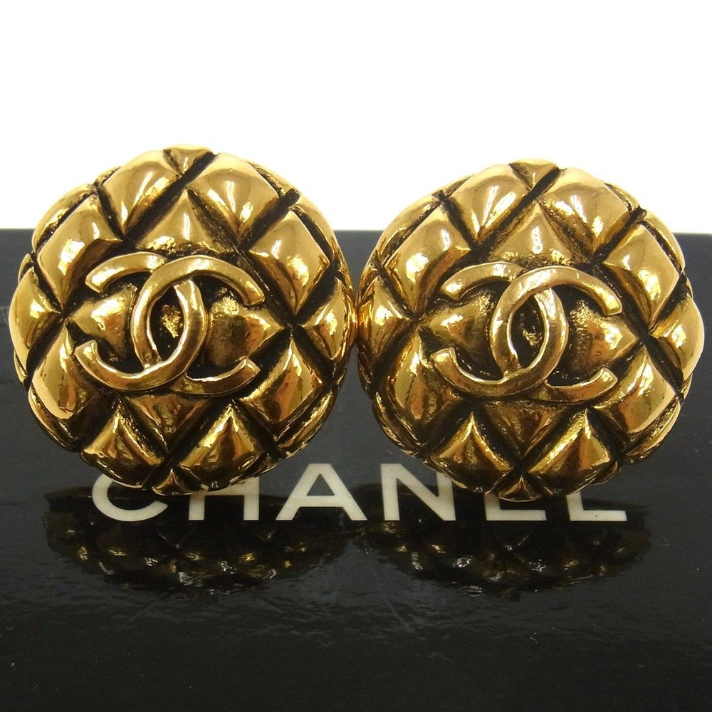 Image of Chanel Quilted Clip On Earrings With Box