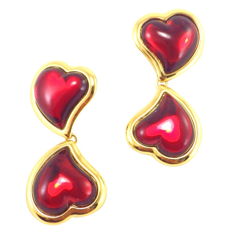 Image of SOLD OUT Yves Saint Laurent Gripoix Poured Glass Red Heart Drop Earrings