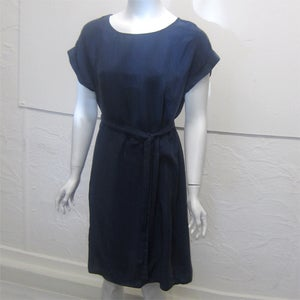 Image of Blue silk tunic with tie