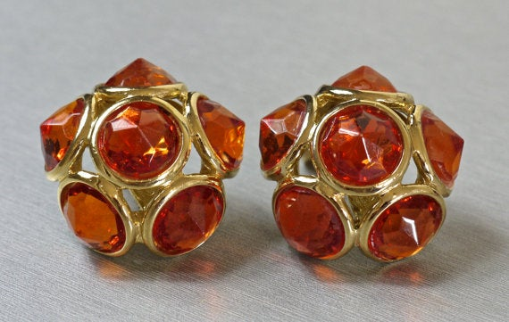 Image of SOLD Yves Saint Laurent Rive Gauche Amber Cabochon Clip On Earrings