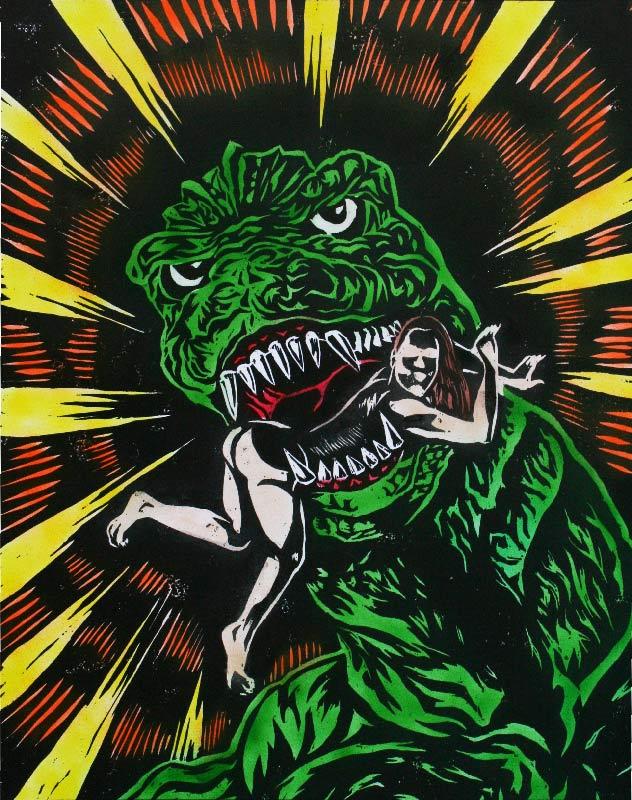 Image of Godzilla Colored woodcut