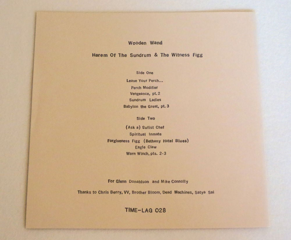 Image of WOODEN WAND ~ HAREM OF THE SUNDRUM & THE WITNESS FIGG ~ lp & 7inch (TIME-LAG 028/029)
