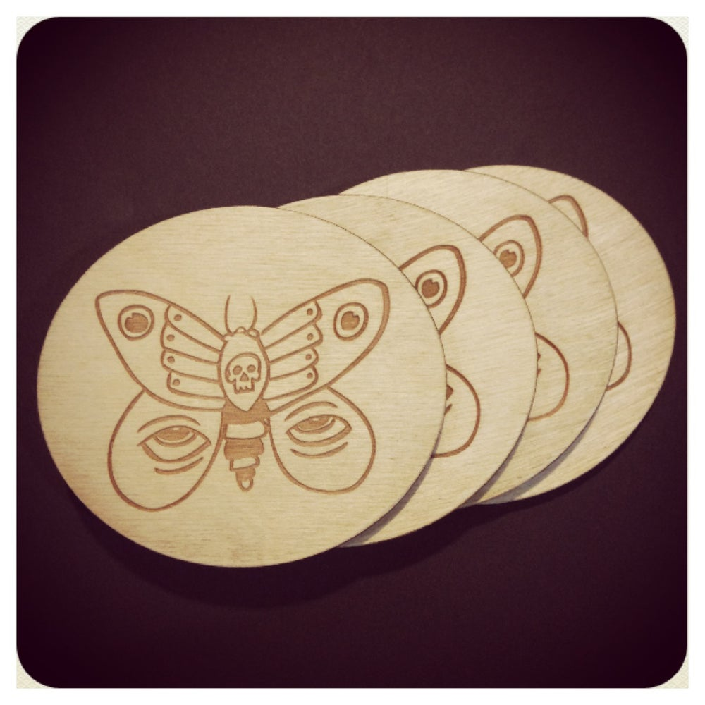 Image of The Deadly Butterfly Coaster Set by Smuttywood